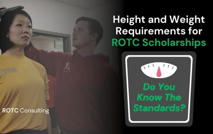 Blog Post Graphic for Article on ROTC scholarship height and weight requirements