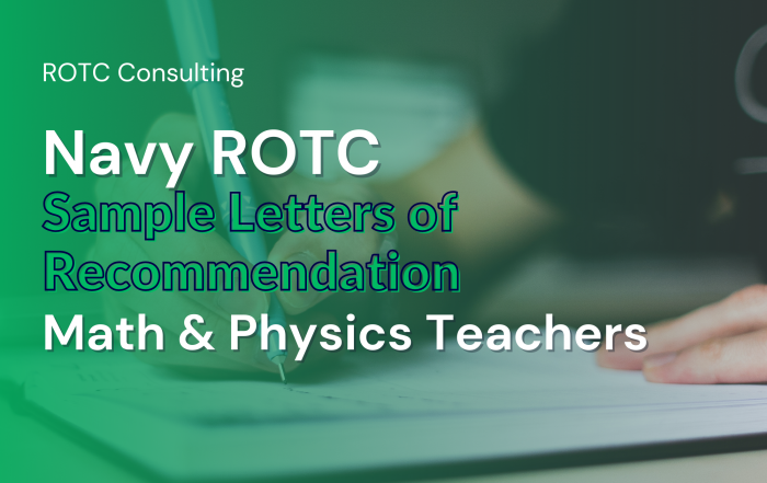 Blog post graphic for navy rotc teacher sample letters of recommendation for math and physics teachers